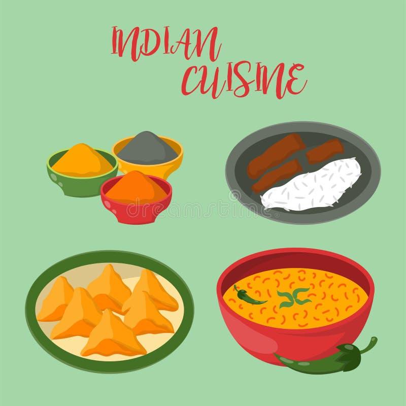 Le jalfrezi indien de poulet avec du riz et le légume corroient le vecteur sain de nourriture de cuisine de divers d'épice restau illustration de vecteur