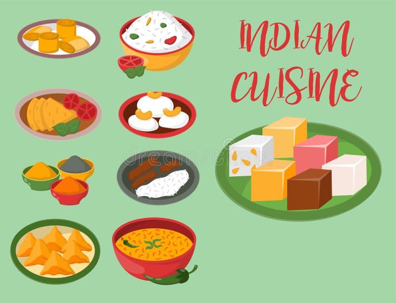 Le jalfrezi indien de poulet avec du riz et le légume corroient le vecteur sain de nourriture de cuisine de divers d'épice restau illustration libre de droits