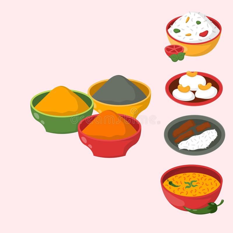 Le jalfrezi indien de poulet avec du riz et le légume corroient le vecteur sain de nourriture de cuisine de divers d'épice restau illustration stock