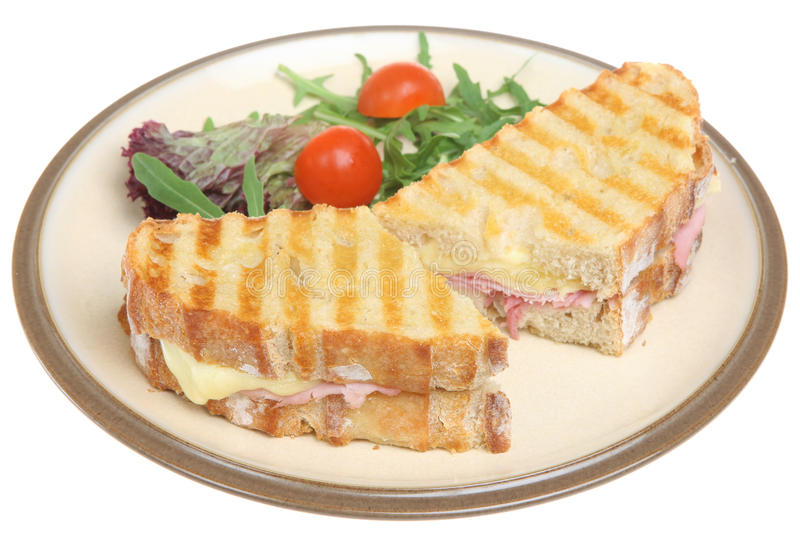 Le jambon et le fromage ont grillé le sandwich image libre de droits