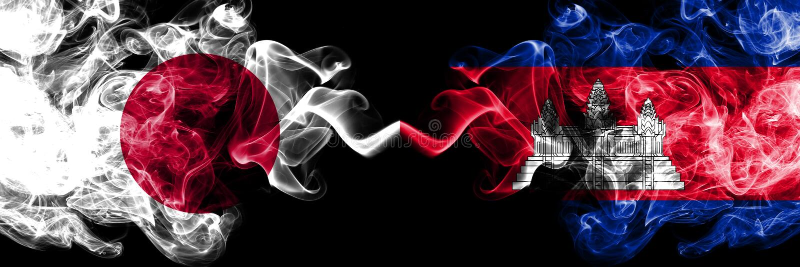 Le Japon contre le Cambodge, drapeaux mystiques fumeux cambodgiens placés côte à côte Épais coloré soyeux fume la combinaison du  illustration de vecteur