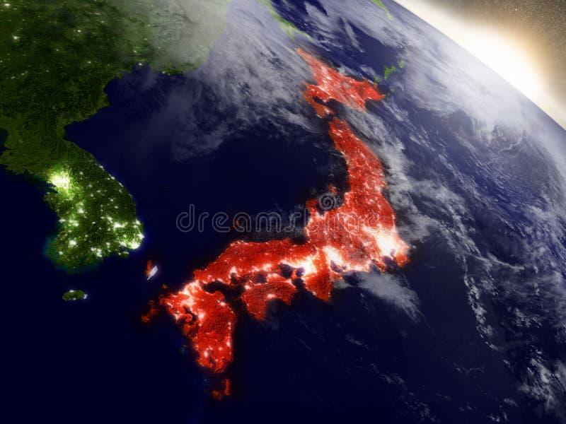 Download Le Japon De L'espace Accentué En Rouge Illustration Stock - Illustration du orbite, japonais: 77158586
