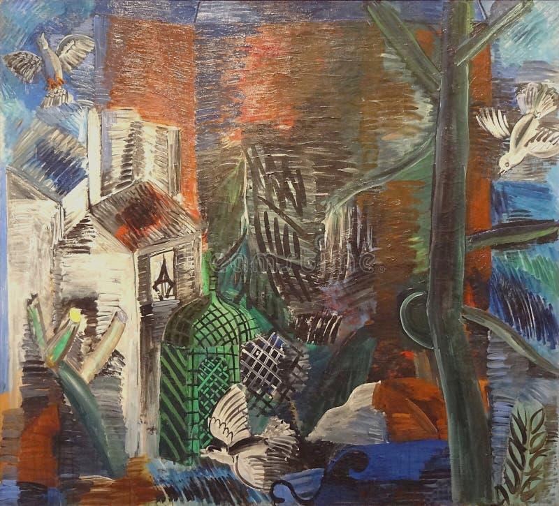 ' Le jardin abandonné' , Raoul Dufy, 1913 Musée d' Искусство moderne de Ла ville de Париж, palais de Токио стоковое изображение