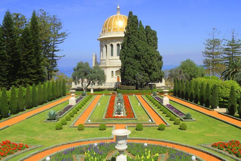 Le jardin célèbre de Bahai à Haïfa, Israël photos libres de droits