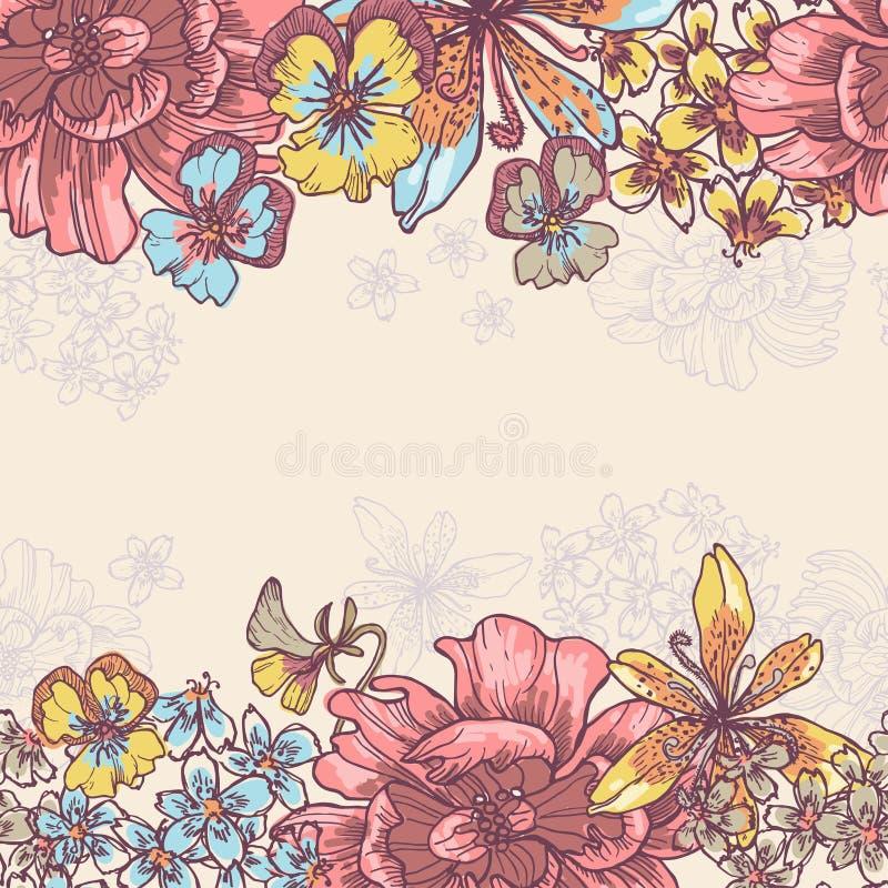 Le jardin de beauté fleurit l horizontal frontière sans couture illustration de vecteur