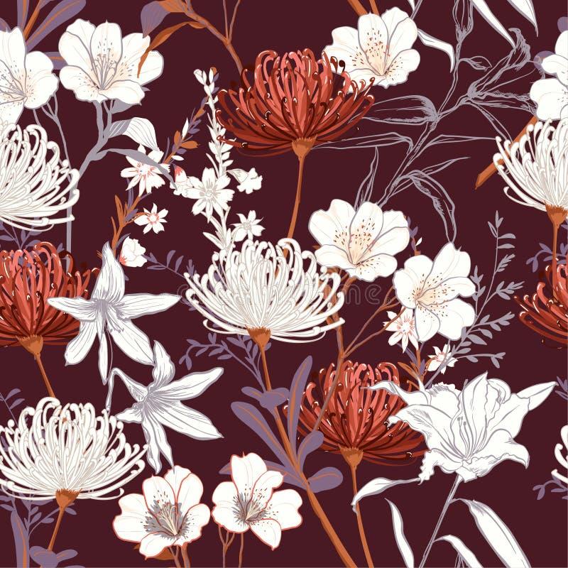 Le jardin de floraison botanique de beau vintage fleurit l non fini illustration stock