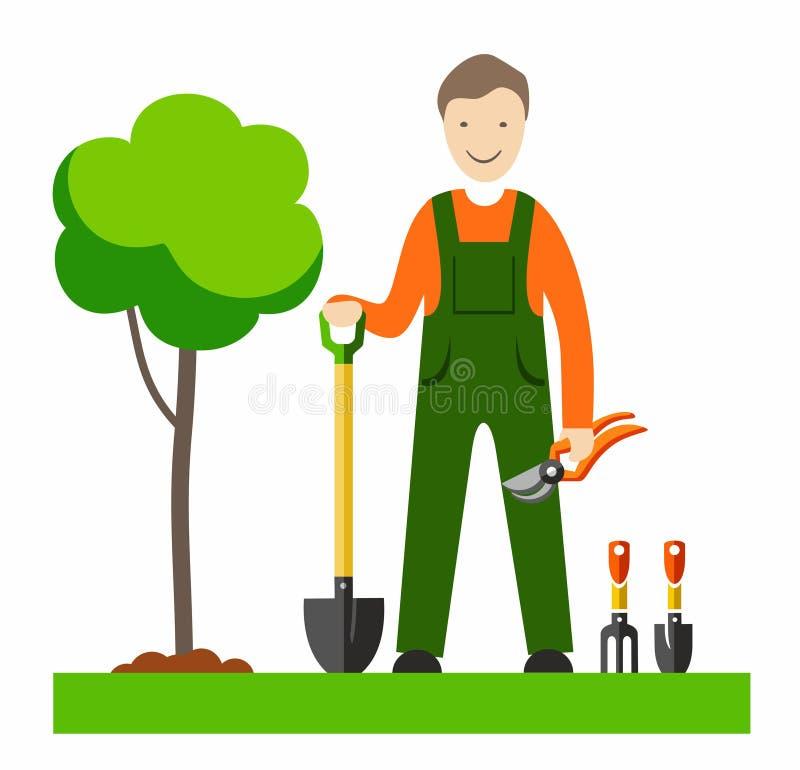 le jardinier avec des illustrations de couleur illustration de vecteur illustration du. Black Bedroom Furniture Sets. Home Design Ideas