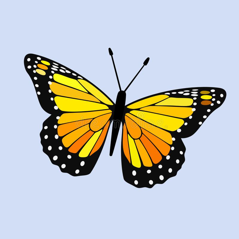 Le jaune a coloré le monarque à ailes - vecteur de papillon illustration libre de droits