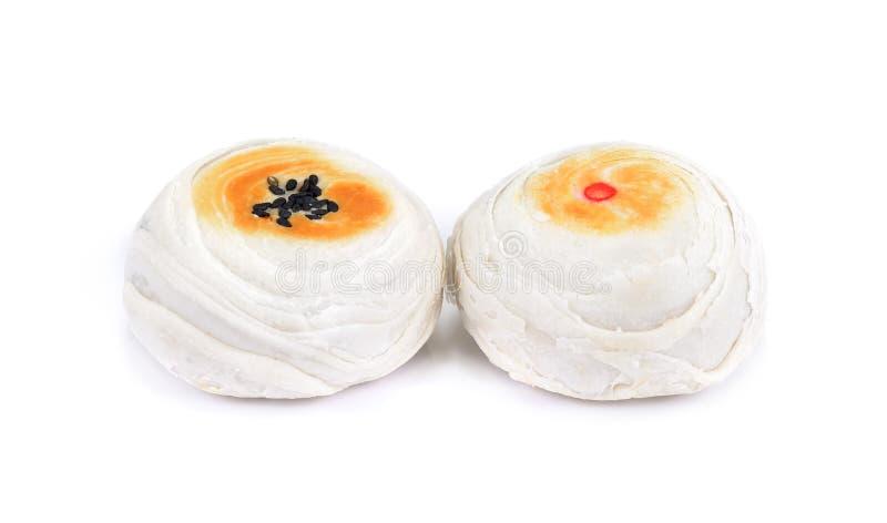 Le jaune d'oeuf salé par wite de dessert de gâteau de chinois traditionnel a isolé o photographie stock