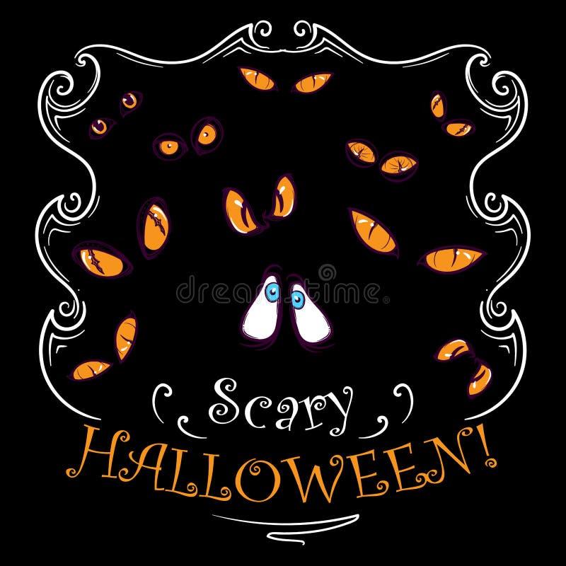 Le jaune effrayant observe la carte de Halloween illustration de vecteur
