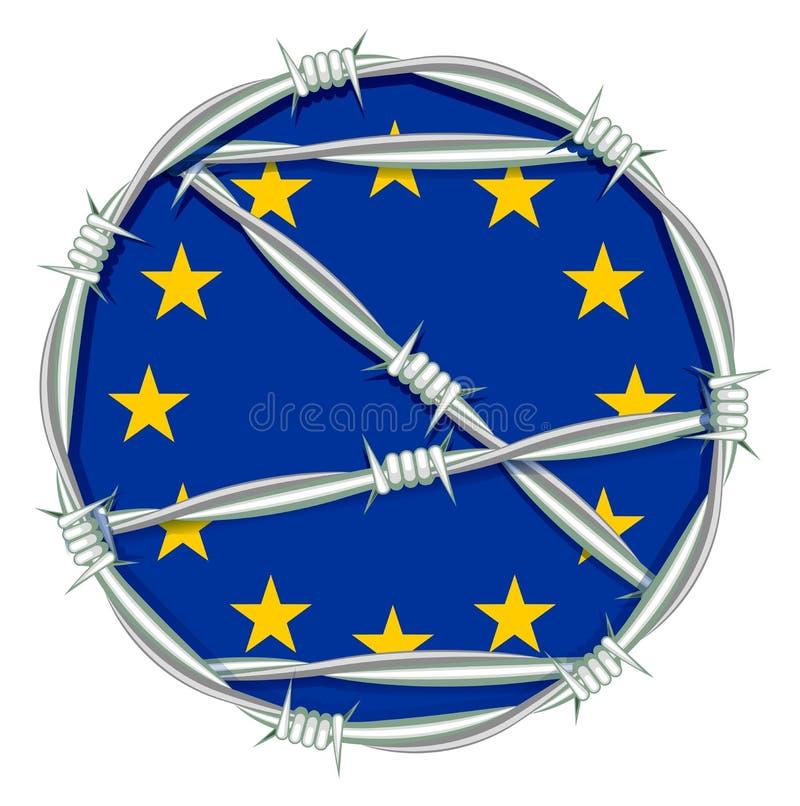 Le jaune se tient le premier rôle sur le symbole bleu de fond de l'Union européenne derrière le barbelé Problème de migration illustration stock