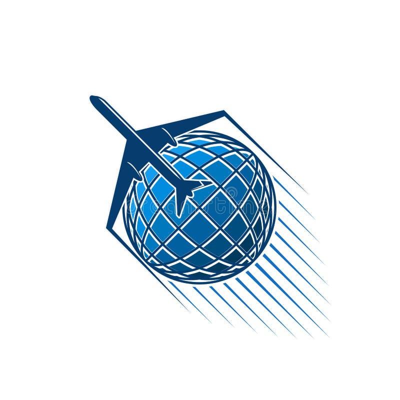 Le jet d'avion et le monde bleu de globe dirigent l'icône illustration de vecteur