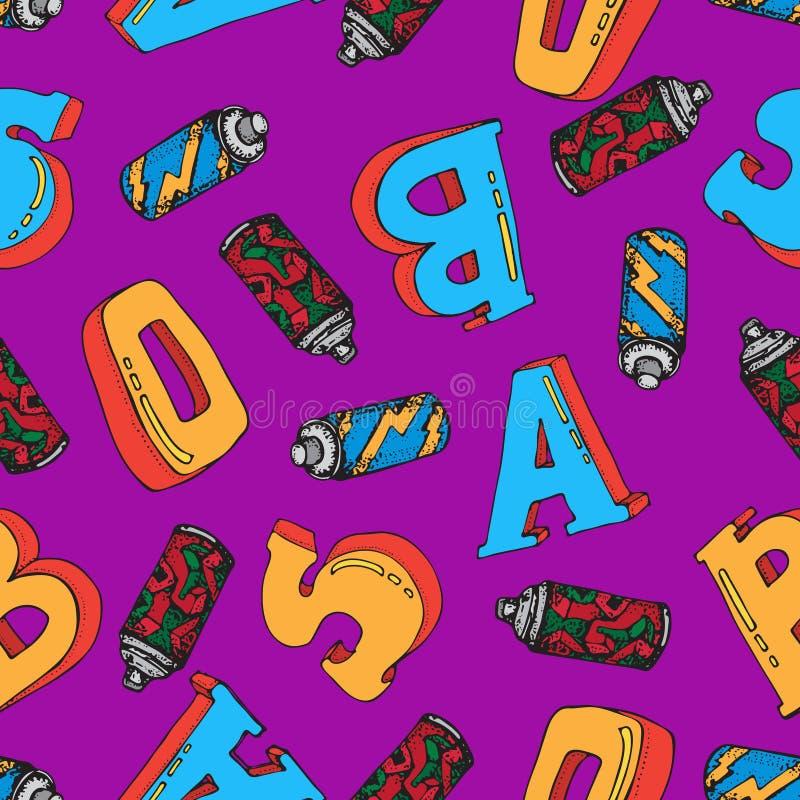 Le jet de graffiti peut diriger pour gribouiller le mod?le sans couture Peinture d'a?rosol dans un r?servoir lettres 3D Illustrat illustration de vecteur