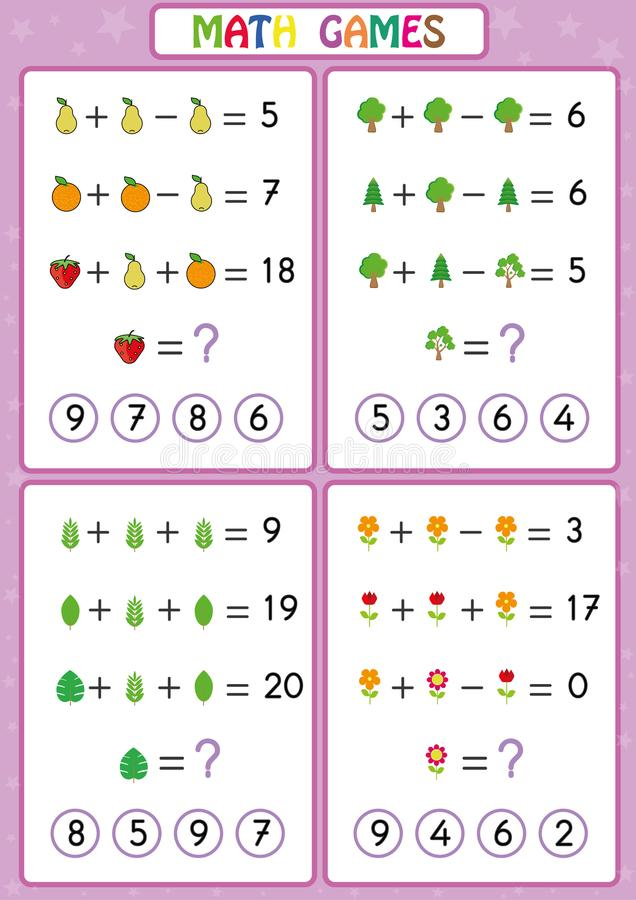 Le jeu éducatif de mathématiques pour les enfants, fiches de travail d'amusement pour des enfants, enfants apprennent à résoudre  illustration de vecteur