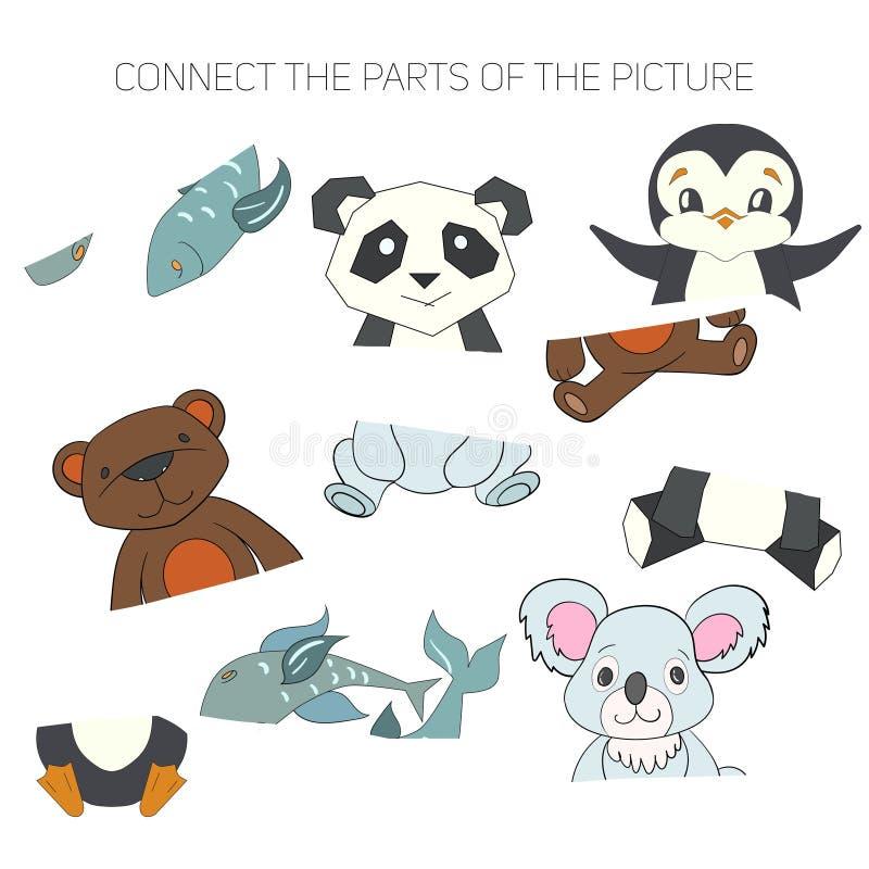 Le jeu éducatif pour des enfants relient les pièces illustration de vecteur