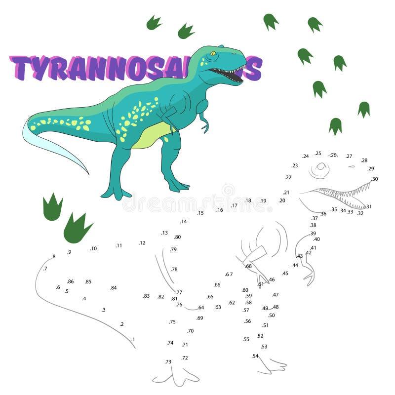 Le jeu éducatif relient des points au dinosaure d'aspiration illustration libre de droits