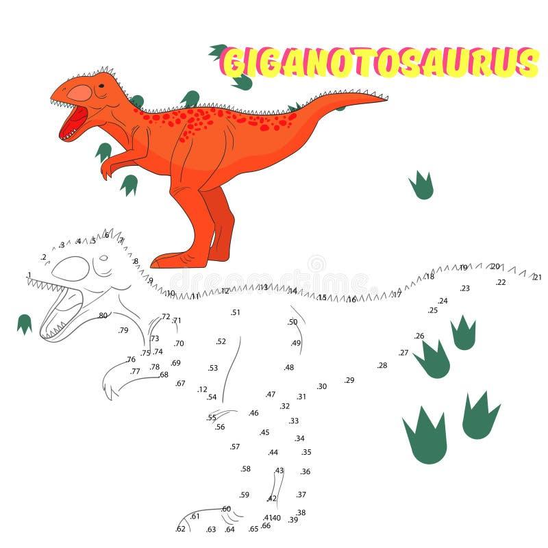 Le jeu éducatif relient des points au dinosaure d'aspiration illustration de vecteur