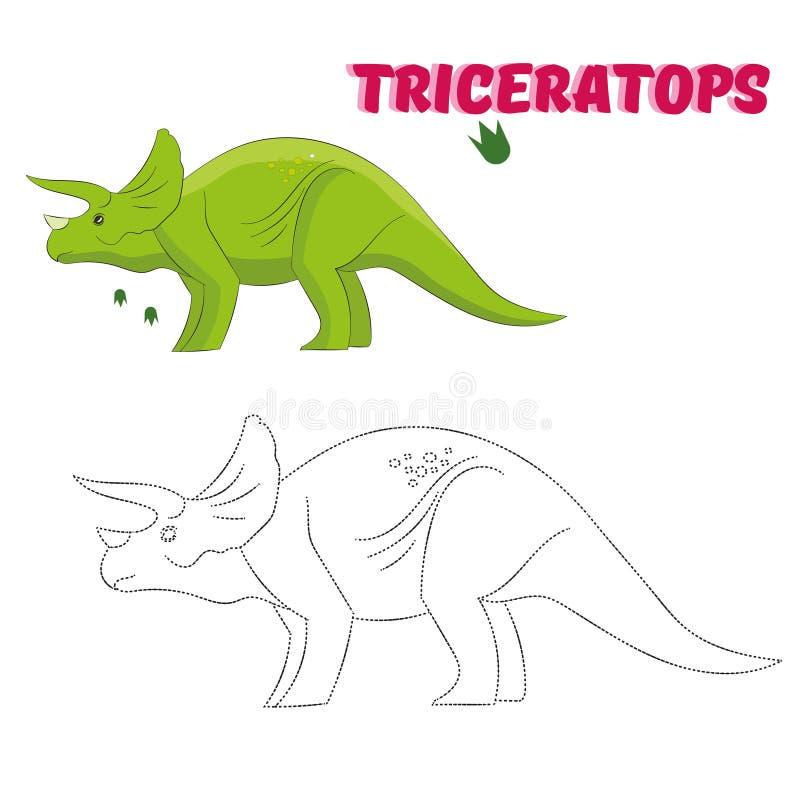 Le jeu éducatif relient les points au dinosaure d'aspiration illustration stock