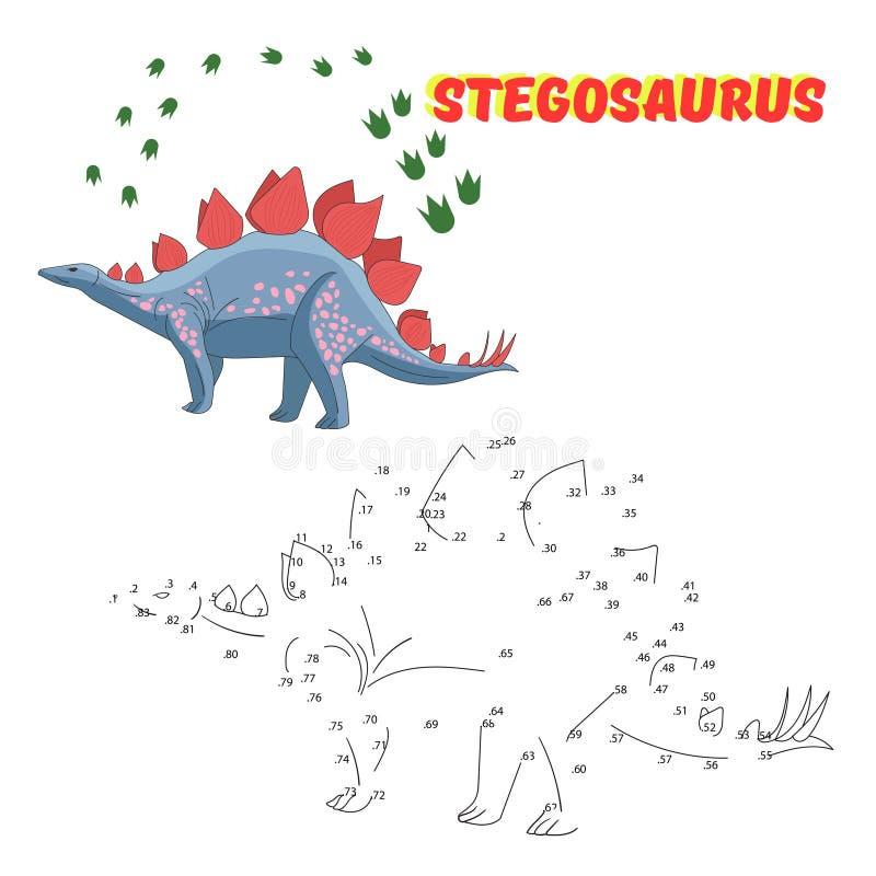 Le jeu éducatif relient les points au dinosaure d'aspiration illustration libre de droits