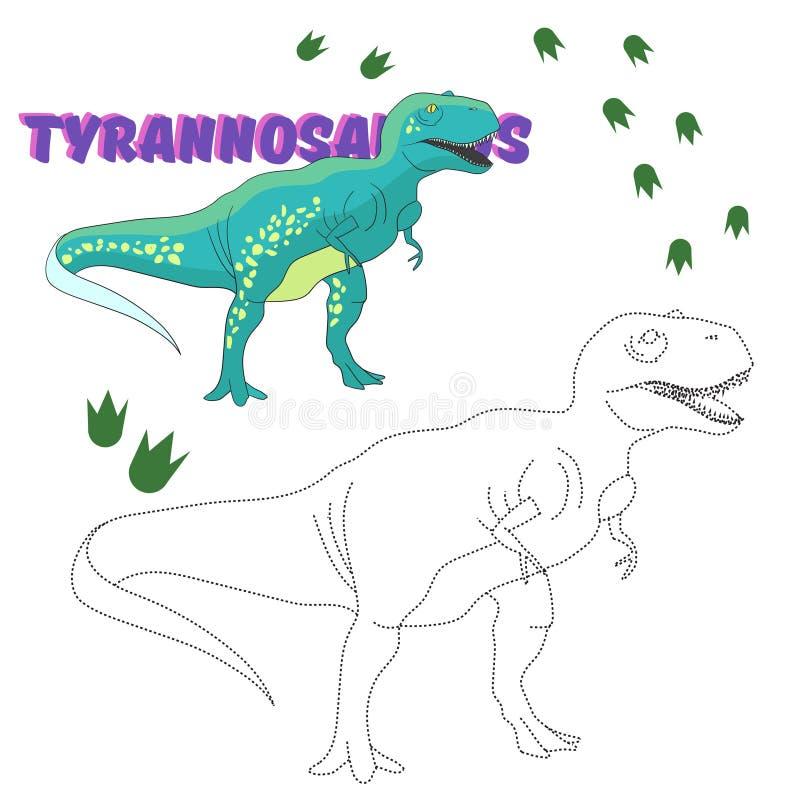 Le jeu éducatif relient les points au dinosaure d'aspiration illustration de vecteur