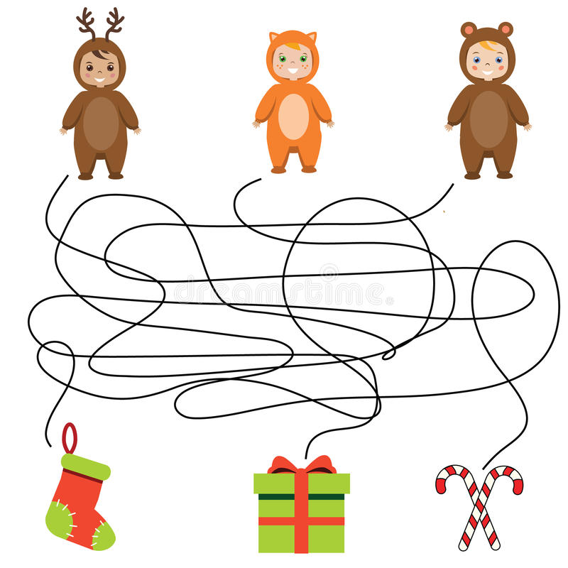 Le jeu assorti d'enfants, labyrinthe badine l'activité illustration libre de droits