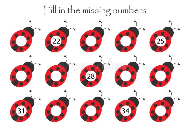 Le jeu avec des coccinelles pour des enfants, complètent les nombres absents, le niveau moyen, jeu d'éducation pour des enfants,  illustration libre de droits