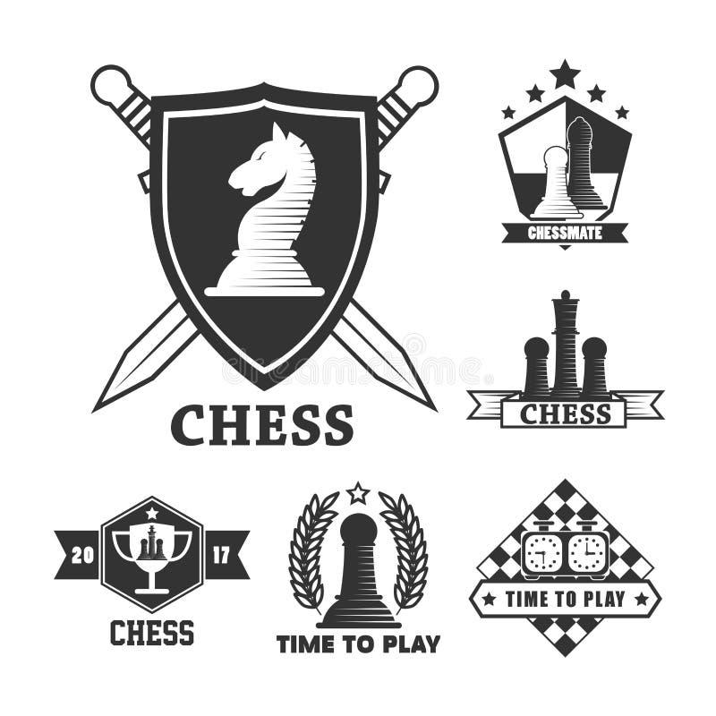 Le jeu d'échecs a isolé des icônes épée et des morceaux de jeu de boucliers illustration de vecteur