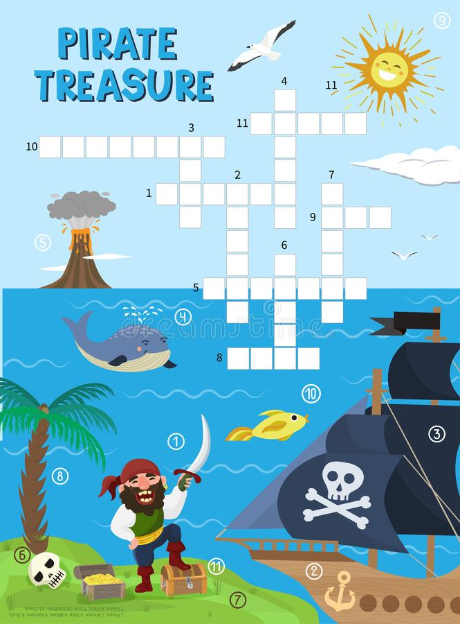 Le jeu d'éducation de labyrinthe de jeu de mots croisé d'aventure de trésor de pirate pour des enfants au sujet des pirates trouv illustration stock