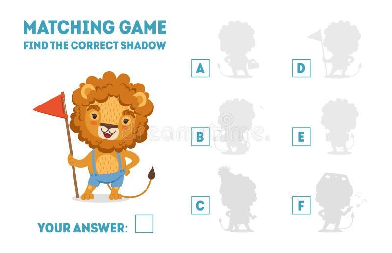 Le jeu d'assortiment avec le lion mignon avec le drapeau, trouvent le jeu éducatif d'ombre correcte pour l'illustration de vecteu illustration de vecteur