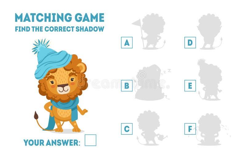 Le jeu d'assortiment avec Lion Wearing Knitted Hat et l'écharpe mignons, trouvent le jeu éducatif d'ombre correcte pour le vecteu illustration stock
