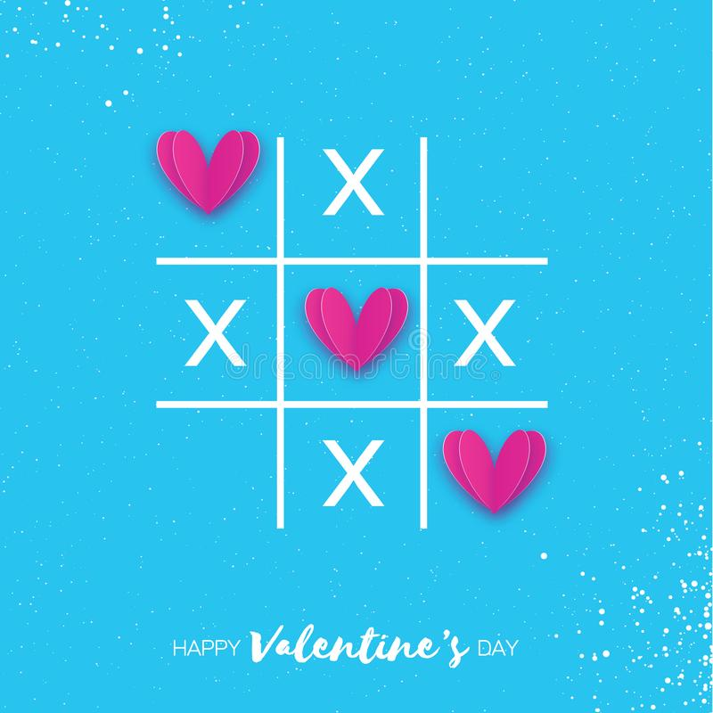 Le jeu d'orteil de tac de tic avec la croix de criss et le papier rose a coupé la marque XOXO de signe de coeurs illustration de vecteur