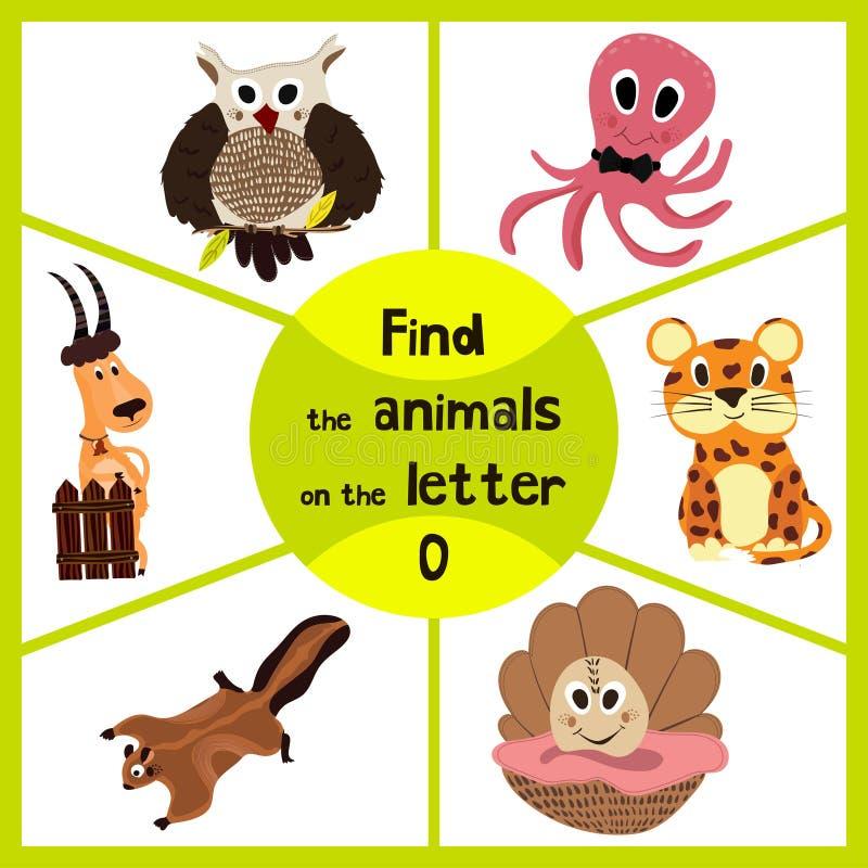 Le jeu de étude drôle de labyrinthe, trouvent chacun des 3 des animaux sauvages mignons à la lettre O, du poulpe d'habitant de me illustration libre de droits