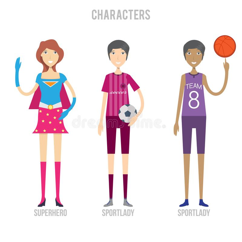 Le jeu de caractères incluent sportlady et le super héros illustration stock