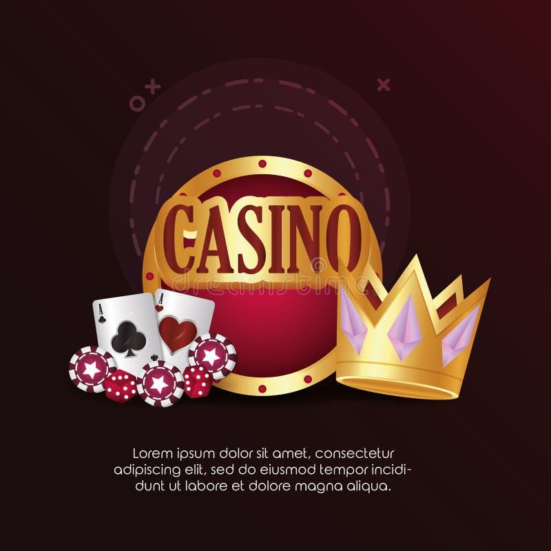 Le jeu de cartes de tisonnier de casino découpe la couronne de panneau de puces illustration de vecteur