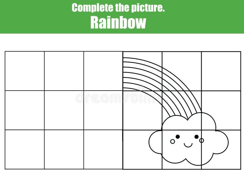 Le jeu de copie de grille, accomplissent le jeu éducatif d'enfants de photo Feuille imprimable d'activité d'enfants avec l'arc-en illustration libre de droits