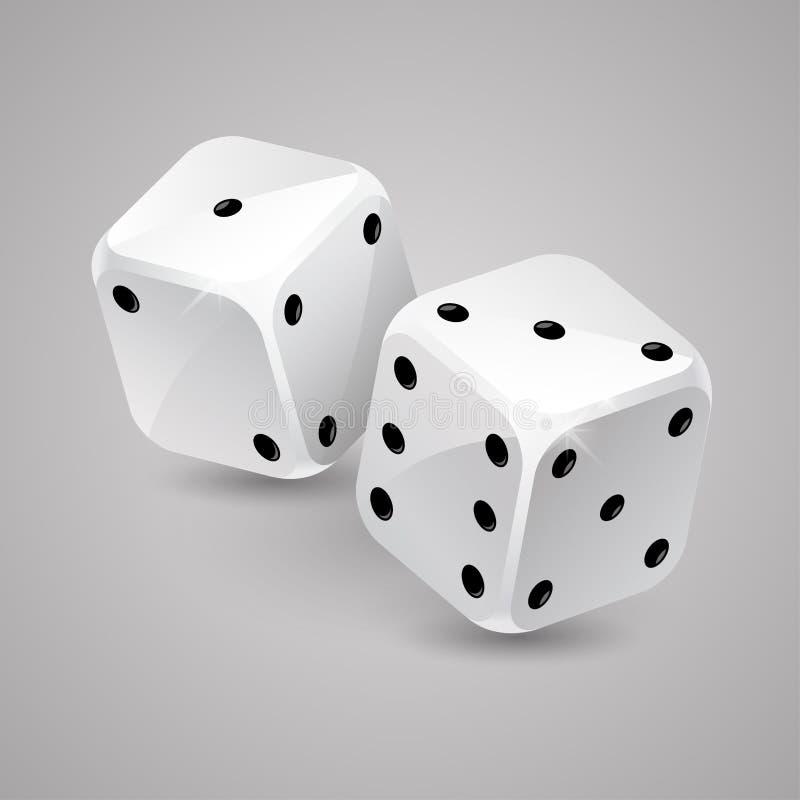 Le jeu de deux blancs découpe Casino jouant illustration libre de droits