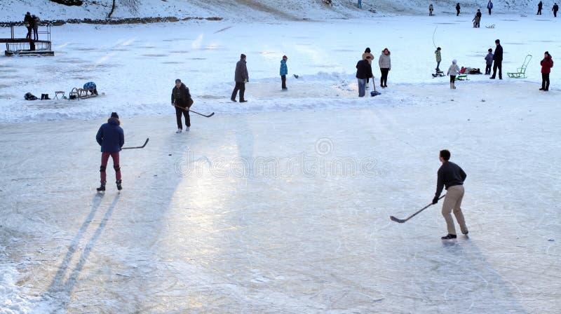 Le jeu de l'hockey images libres de droits