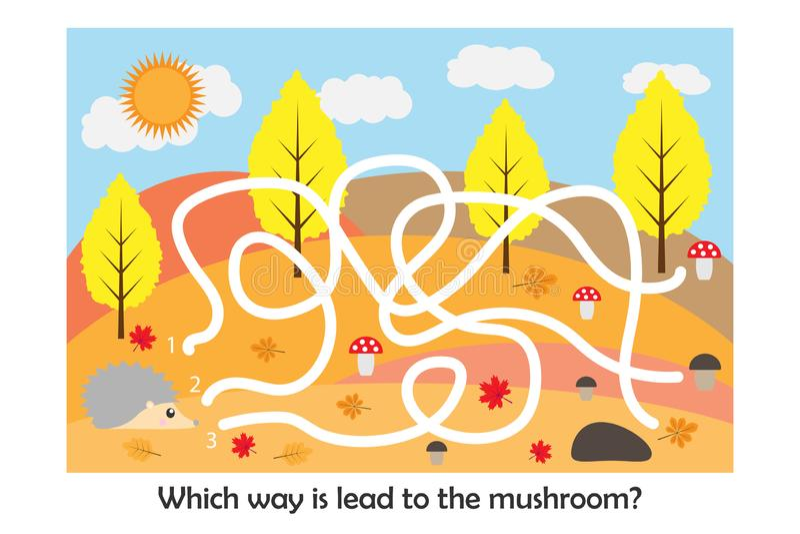 Le jeu de labyrinthe, aident le hérisson à trouver une manière au champignon, le personnage de dessin animé mignon, activité prés illustration de vecteur