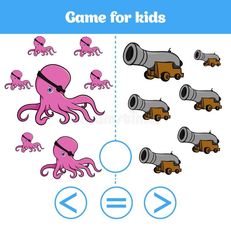 Le jeu de logique d'éducation pour les enfants préscolaires choisissent la réponse correcte Plus, moins ou illustration égale de  illustration de vecteur