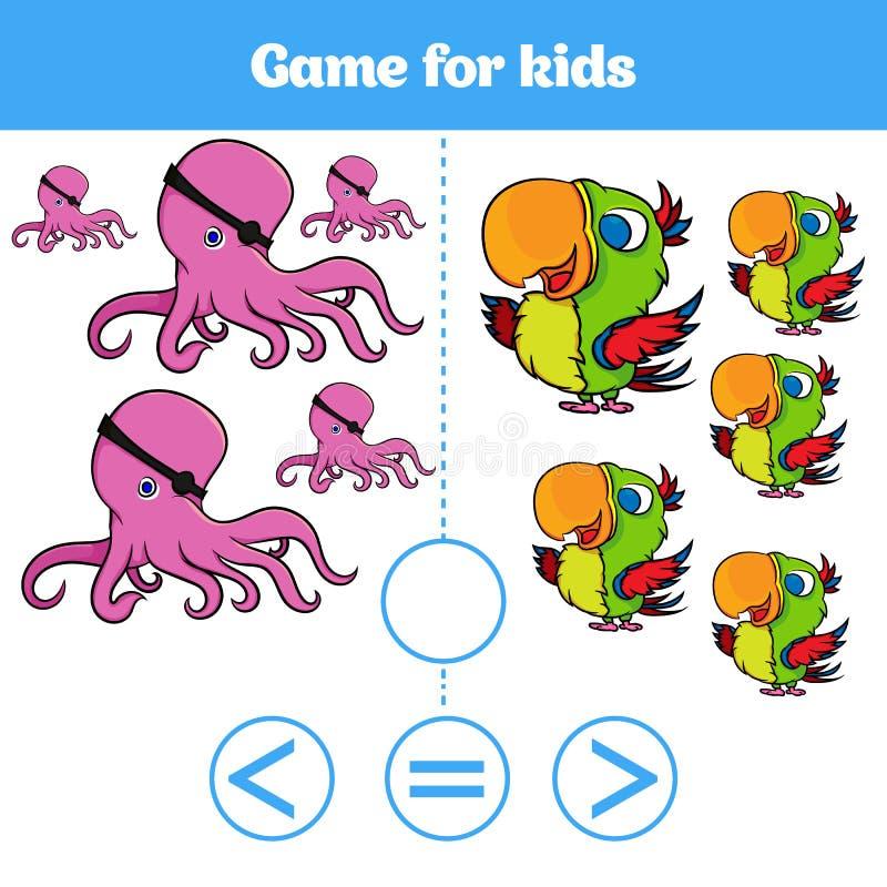 Le jeu de logique d'éducation pour les enfants préscolaires choisissent la réponse correcte Plus, moins ou illustration égale de  illustration libre de droits
