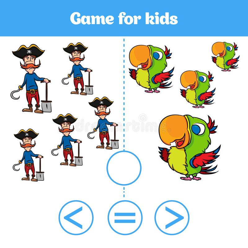 Le jeu de logique d'éducation pour les enfants préscolaires choisissent la réponse correcte Plus, moins ou illustration égale de  illustration stock