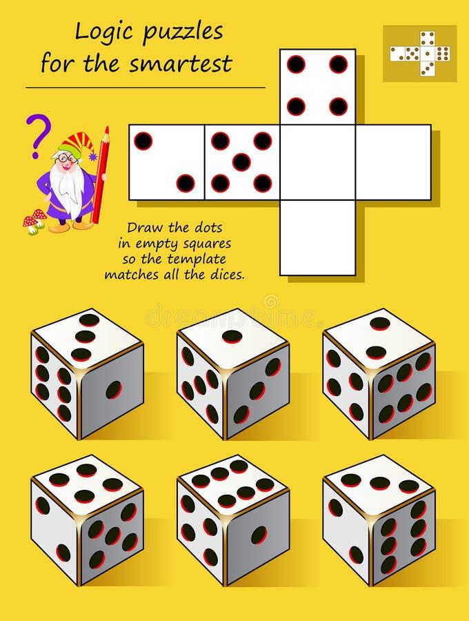 Le jeu de puzzle de logique pour l'aspiration la plus futée les points dans les places vides ainsi le calibre assortit tout le dé illustration de vecteur