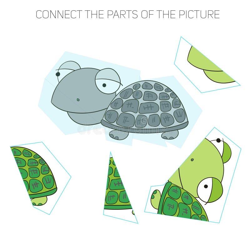 Le jeu de puzzle pour chldren la tortue illustration de vecteur