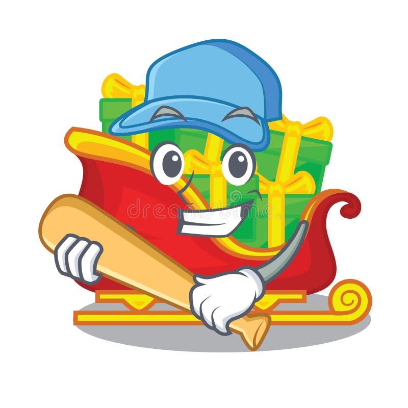 Le jeu du traîneau de Santa de base-ball avec des piles présente la bande dessinée illustration stock
