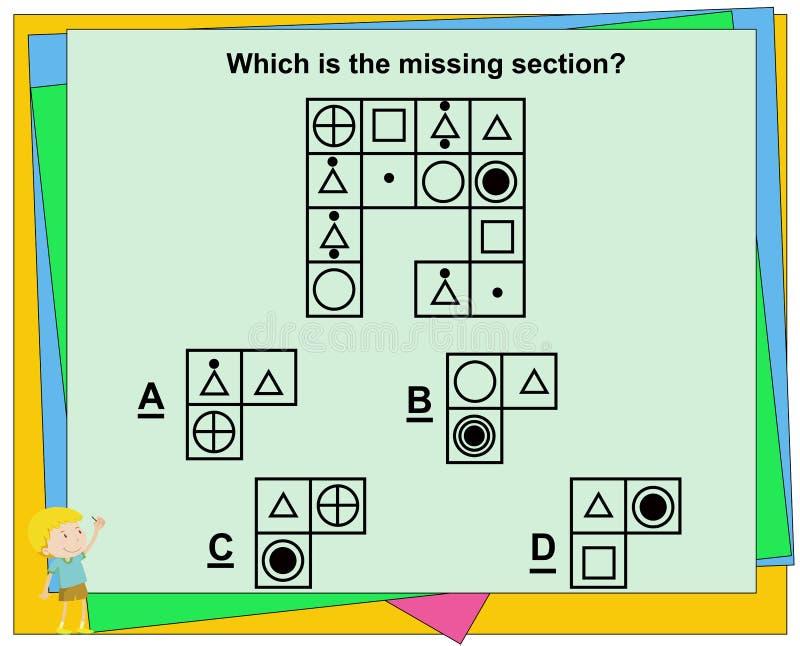 Le jeu ?ducatif pour des enfants, jeu de Q.I., pratique interroge la fiche de travail pour l'?ducation et l'essai de QI [r?ponse  illustration libre de droits