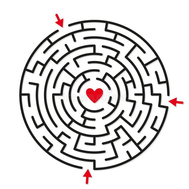 Le jeu rond de labyrinthe de labyrinthe, trouvent votre chemin au coeur illustration stock