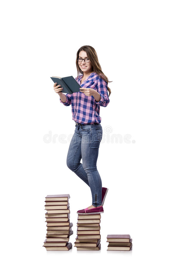Le jeune étudiant se préparant aux examens d'école image stock