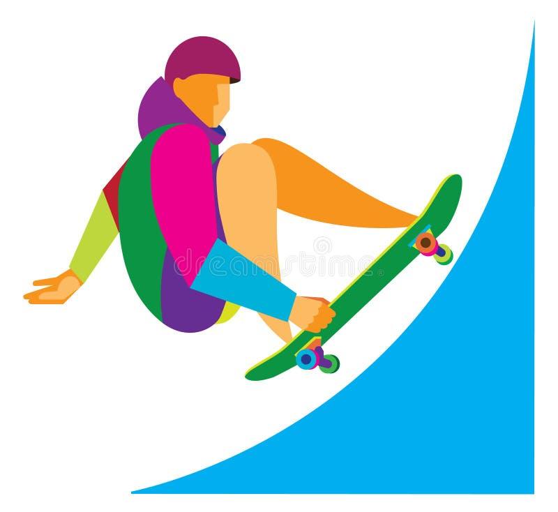Le jeune athlète à faire de la planche à roulettes illustration libre de droits