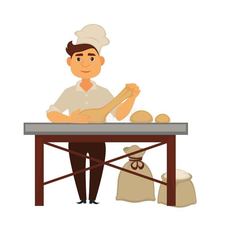 Le jeune boulanger malaxe la pâte et fait des pains de pain illustration libre de droits