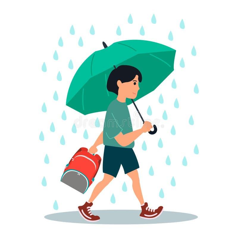 Le jeune caractère de garçon va de l'école sous une pluie Dirigez l'illustration sur le fond blanc dans le style de bande dessin? illustration stock